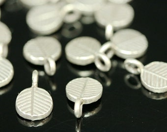 KA-005 thai karen hill tribe handmade silver 4 black&white leaf charm