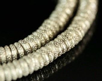 KI-004 thai karen hill tribes silver 20 rondel flower print bead