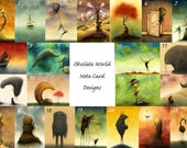 Set of Eight Obsolete World Watercolor Fine Art Print Note Cards