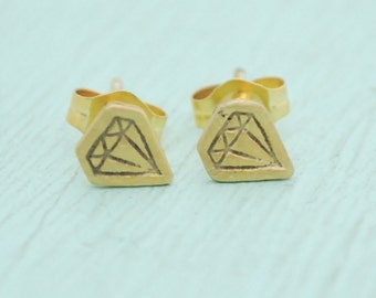 Tiny Illustrated DIAMOND STUD EARRINGS -  sterling silver posts handmade and illustrated by Chocolate and Steel
