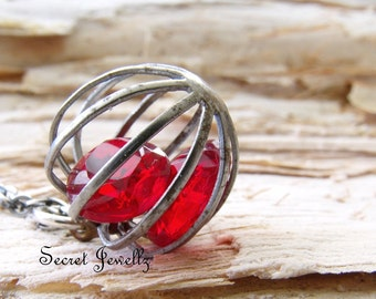 Vintage Ruby Red Necklace, Oxidized Sterling Silver, Red Glass Stone Necklace, Cage Pendant, July Birthstone Necklace