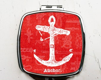 Red Anchor Pocket Mirror