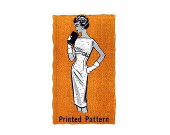 1950s Wiggle Dress Marian Martin 9143 Mail Order Vintage Sewing Pattern Size 14 Bust 34 UNCUT