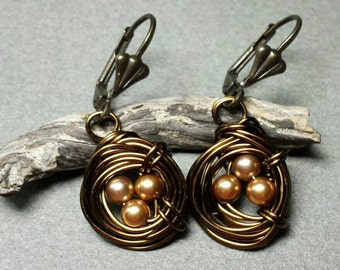 Bird Nest Earrings with Bronze Glass Pearl Eggs and Antiqued Brass Wire