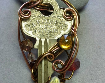 Key to Oz: Tick Tock Key Wire Wrapped Pendant