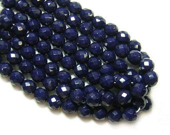 Czech Fire Polished Beads 8mm Opaque Navy Blue Firepolished Round Beads 25pcs (1686) Czech Glass Beads