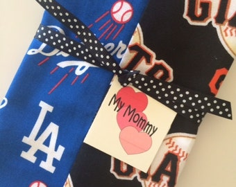 Baby Burp Cloth Made with 2 Rival Major League Baseball MLB fabric Boy Girl