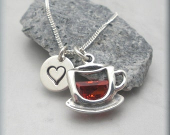 Coffee Lover Necklace Tea Sterling Silver Love Coffee Handstamped Heart  (SN866)