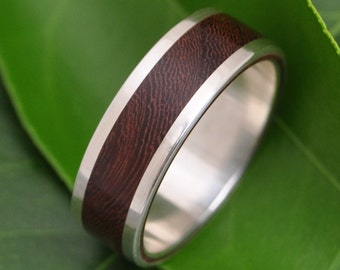 Lados Nacascolo Wood Ring - recycled sterling silver and sustainable wood wedding band, wood wedding ring, mens wood ring