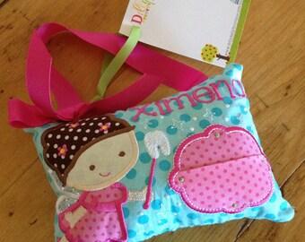 Girl's Tooth Fairy Pillow in Hot Pink and Aqua, door or bedpost hanger, ToothFairy Pillow, Tooth Pillow