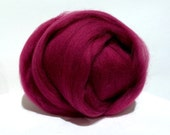 Crabapple Merino wool Roving top,  Needle Felting, Spinning Fiber, red violet, dark pink, deep fuchsia, magenta