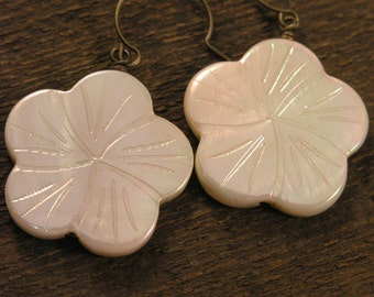 Ivory or pink flowers carved on large genuine shell beads and antique brass handmade earrings
