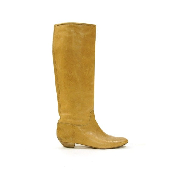 sigerson morrison leather boots light brown knee high