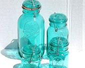 FATHERSDAYSALE 4 Green Vintage Ball Ideal Jars with Wire Closure, Kitchen Decor, Kitchen Storage, Home Decor