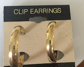 Vintage oldstock Clip- On  gold tone hoop earrings