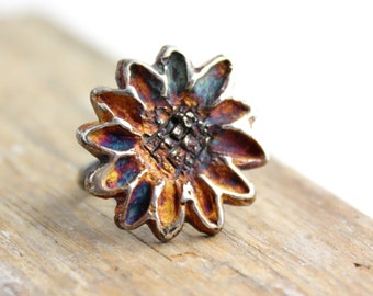 Rustic Silver Flower Ring with Rainbow Patina