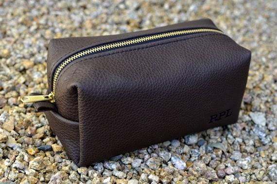 Dark Chocolate Leather Dopp Kit with Free Monogram and Optional Interior Message