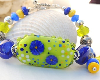 LAPIS and LIME BLOOMS Handmade Lampwork Bead Bracelet
