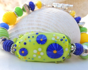 LAPIS and LIME BLOOMS 2 Handmade Lampwork Bead Bracelet