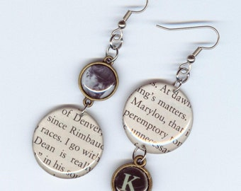 On the Road Earrings - Recycled Book - Jack Kerouac - Dean Marylou - readers gift literary -