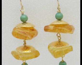 AMBER - Amber & Green Opal - Handforged Bronze and 14KT GF Earrings