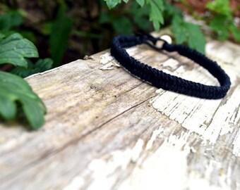 Black Woven Men's Hemp Bracelet