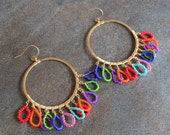 Colorful 14k gold fill and seed bead statement hoops earrings. Bohemian summer hoops.