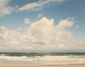 Ocean Photography, Beach Decor, Blue Beach Art, Crashing Ocean Waves, Surf Decor, Summer Wall Decor, Clouds - Nothing But Blue Skies