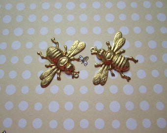 Worker Honey Bee, Brass Bee Jewelry Charms x 2