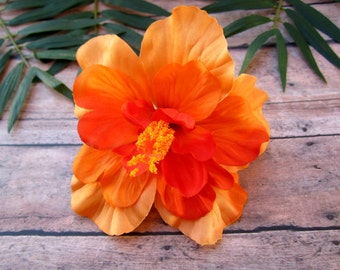 Orange Hibiscus Hair Clip, Orange PinUp Tropical Hair Clip , Hawaiian Hair Clip