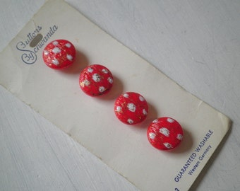 Polka Dot Buttons. Vintage Red and White Specklaed Glass Buttons from Western Germany - Set of 4 - Never Used, New Old Stock Button Lot