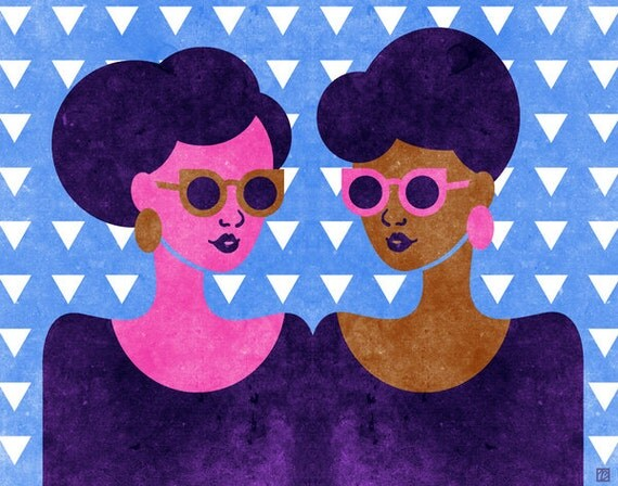 Girls in Purple and Sunglasses Art (Retro Summer Fashion African American Print, 1960s Inspired Natural Hair Women) 5x7, 8x10, 11x14