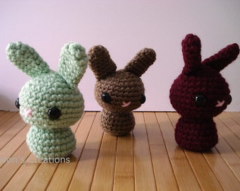 Moon Bun - Amigurumi Bunny Rabbit Doll with Keychain or Ornament Options - Select a Custom Color and Size