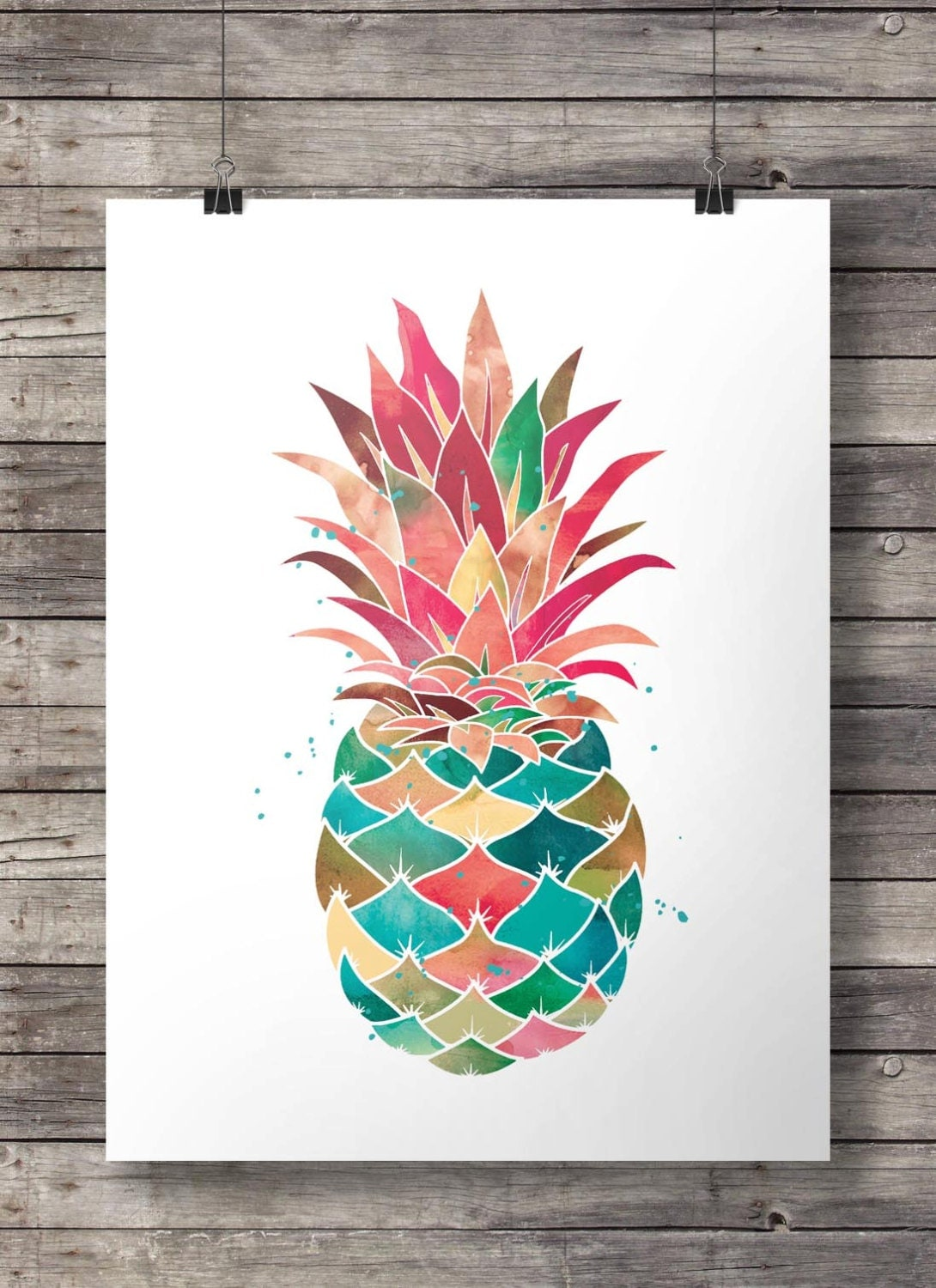 aquarell ananas printable wandkunst. Black Bedroom Furniture Sets. Home Design Ideas