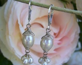 RESERVED...Freshwater White Pearls dangles, leverback earwire earring