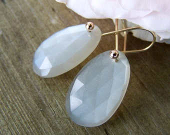 Moonstone rose-cut briolette, 14K Solid Gold French style  earwire