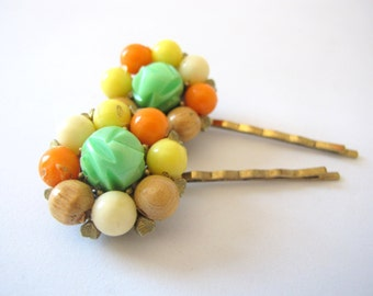 Summer Citrus - Bright Vintage Bauble Hair Pin Set in Orange, Yellow and Lime Green with  Neutral Accents