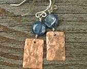 Kyanite and Copper Earrings, Hammered Copper, Sterling Silver, Coin Shaped Blue Kyanite, Gemstone Earrings, Mixed Metal Earrings, Dangles