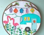 Embroidered Art Hoop - Glamping in Style