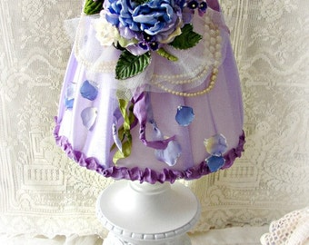 Vintage Lamp in Lavenders, Blue and Purples ~  Hydrangea Lampshade