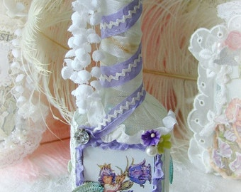 Vintage, Altered Art Bottle, Canterbury Bells Fairy Bottle, Fairies, Magical Fairy Altered Art Bottle, Flower Fairy Adorned Bottle