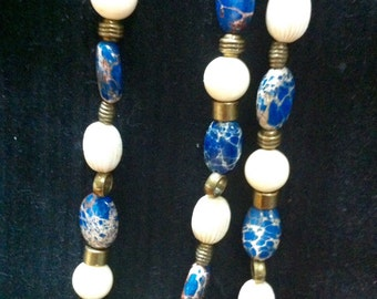 Blue and ivory beaded necklace