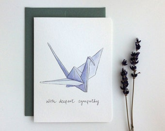 Paper Crane Sympathy Card