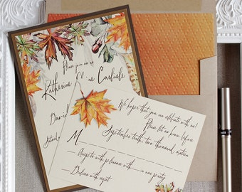 Fall leaves wedding invitation - Autumn watercolor invitation - brown gold rust wedding - acorn invitation - outdoor wedding - rustic invite