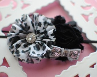 Black White Cheetah Skinny Infant Headband