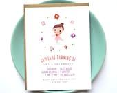Little Ballerina Party Invitation  - Children's Birthday Party Invitation - Cotton Paper