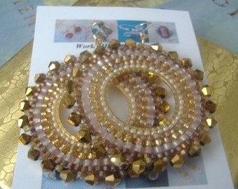 Beaded Hoop Earrings BRONZE GODDESS II Crystal Seed Bead Hoop Earrings