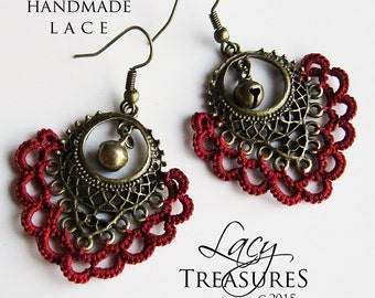 Red Earrings . Statement Earrings . Boho Dangle Earrings . Brass Earrings . Lace Earrings . Bell Charm . Everyday earrings. FREE SHIPPING