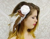 Bridal Fascinator, Brown and White Fascinator, White Flower Fascinator with Brown Pheasant Feather and Ribbon Accents
