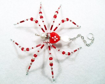 Amore - red and white glass beaded spider goth sun catcher - Halloween decoration - Christmas ornament